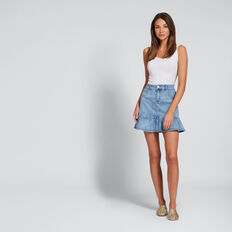Ruffle Hem Denim Skirt  LIGHT WASH DENIM  hi-res