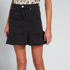 Ruffle Hem Denim Skirt  WASHED BLACK  hi-res