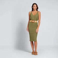 Ribbed Jersey Skirt  OLIVINE  hi-res