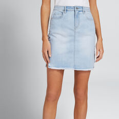 Cut-Out Side Panel Skirt  PASTEL DENIM WASH  hi-res