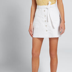 Patch Pocket Denim Skirt  WHITE  hi-res