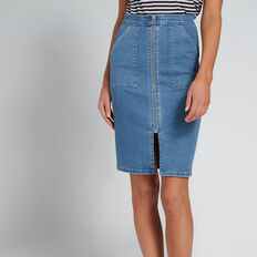 Zip Front Denim Skirt  CLASSIC DENIM  hi-res
