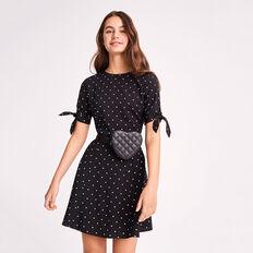 Tied Sleeve Dress  BLACK  hi-res