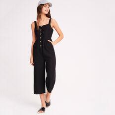Linen Blend Jumpsuit  BLACK  hi-res