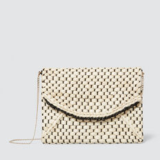 Belle Woven Clutch  BLACK/NATURAL  hi-res