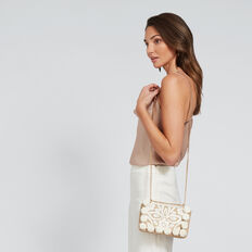 Fiona Pom Pom Clutch  NATURAL/WHITE  hi-res