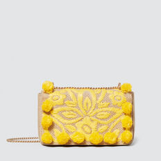 Fiona Pom Pom Clutch  NATURAL/ YELLOW  hi-res