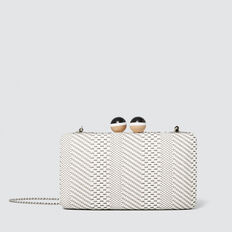 Weave Hardcase Clutch  BISQUE/BLACK  hi-res