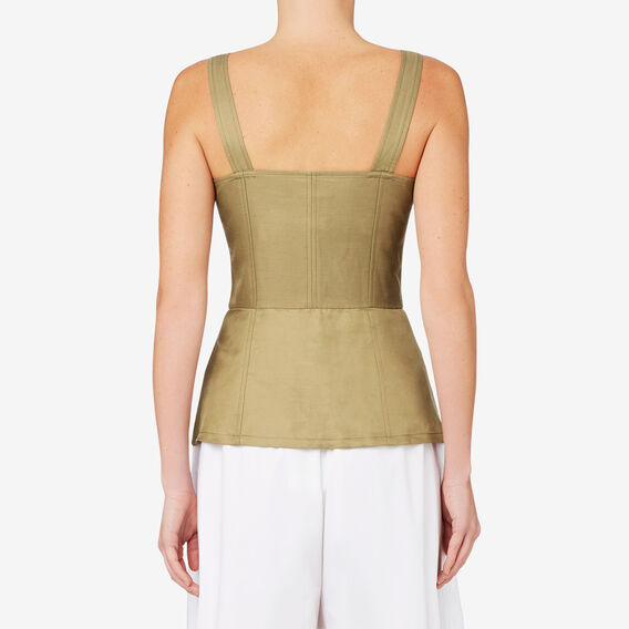 Bodice Peplum Top  FERN GREEN  hi-res