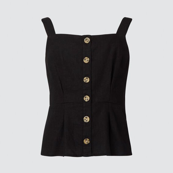 Linen Blend Top  BLACK  hi-res