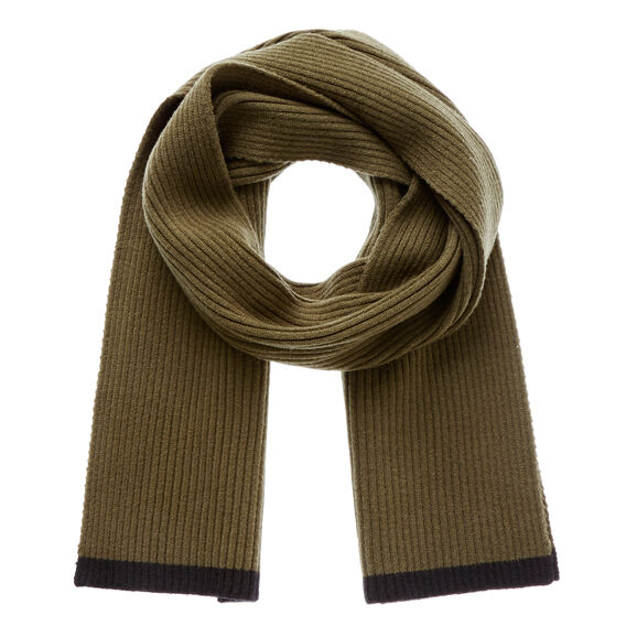 Ribbed Knit Scarf  KHAKI  hi-res