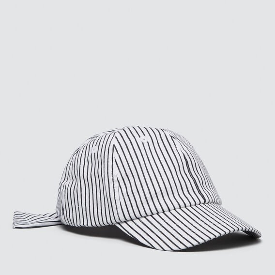 Stripe Tie Back Cap  WHITE  hi-res