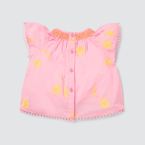 Smocked Yardage Top  MUSK PINK  hi-res