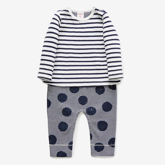 Layered Stripe Jumpsuit  NAVY  hi-res