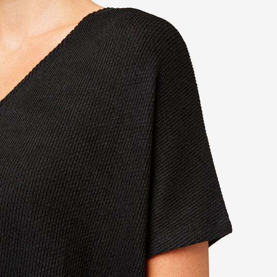 V Neck Textured Tee  BLACK  hi-res