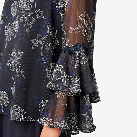 Lace Detail Floral Blouse  DEEP NAVY FLORAL  hi-res