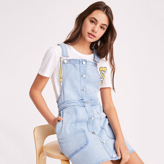Button Pinafore  BLUEBELLE WASH  hi-res