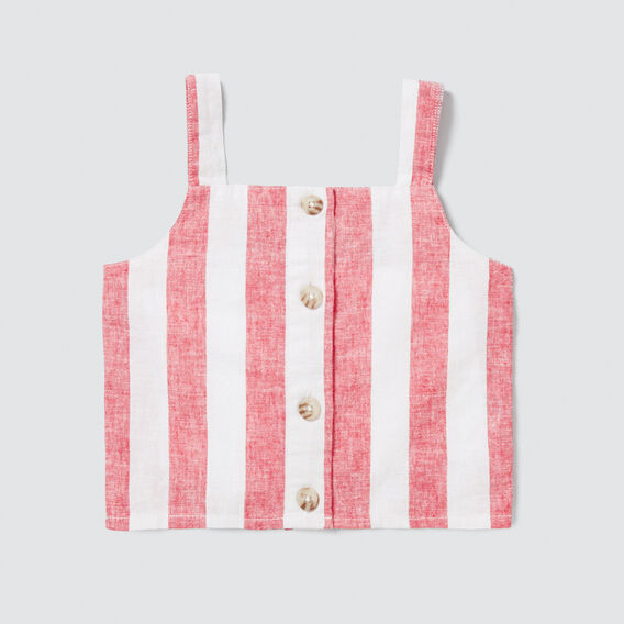 Stripe Button-Through Top  APPLE RED/WHITE  hi-res