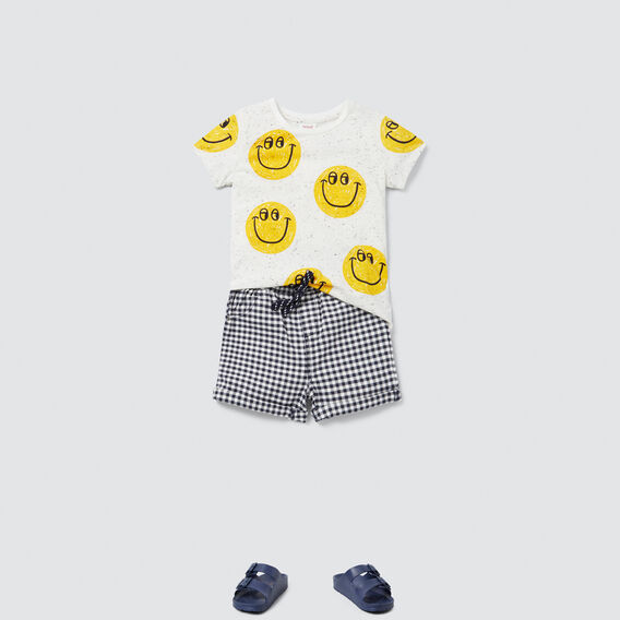 Happy Face Tee  WHITE SPECKLE  hi-res