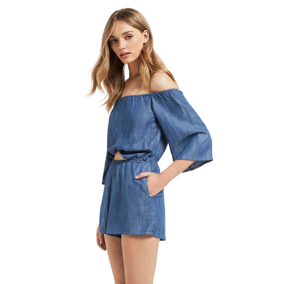 Off Shoulder Knot Jumpsuit  INDIGO BLUE  hi-res