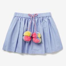 Pom Pom Tie Skirt  POWDER BLUE  hi-res