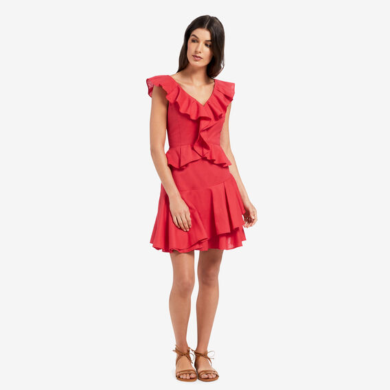 Frill Detail Dress  DUSTY RED  hi-res