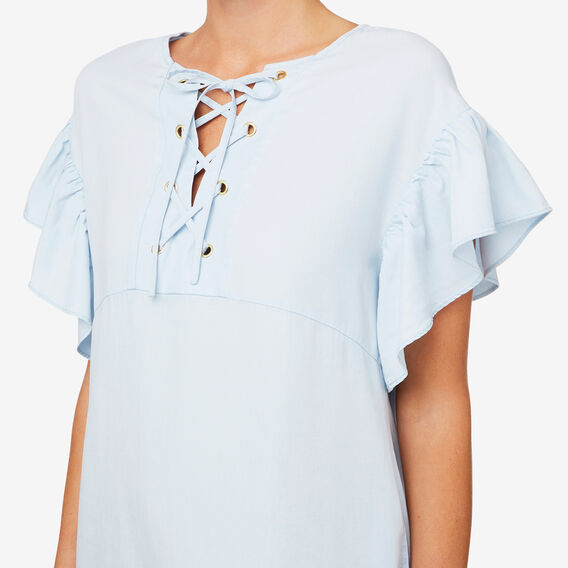 Tencel Lace Up Dress  SKY BLUE DENIM  hi-res