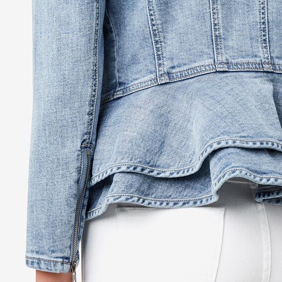 Asymmetric Peplum Jacket  BLEACH BACK DENIM  hi-res