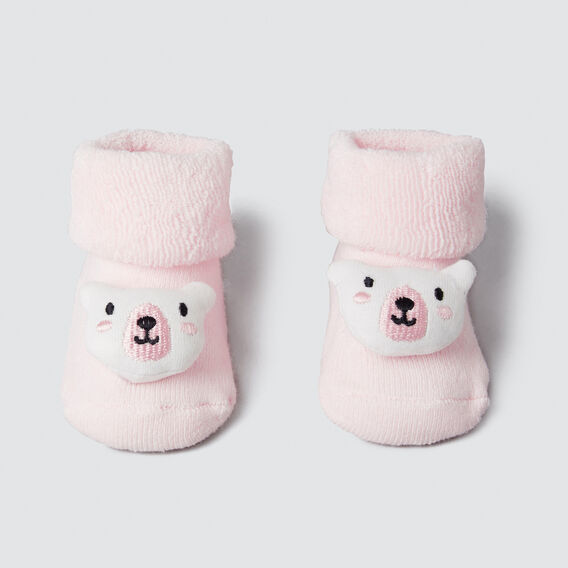Pink Bear Rattle Socks  SOFTEST PINK  hi-res