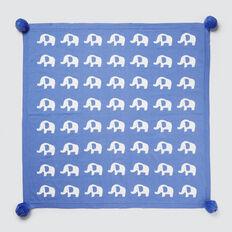 Elephants Jacquard Blanket  BRIGHT BLUEBELL  hi-res