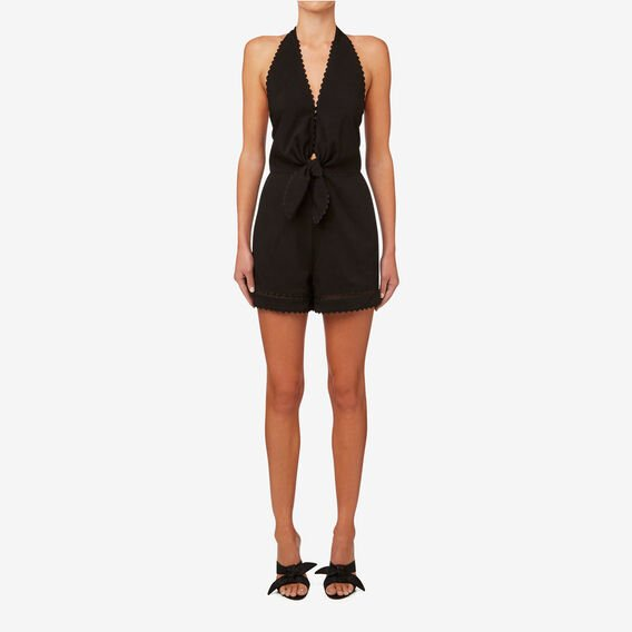 Tie Front Jumpsuit  BLACK  hi-res