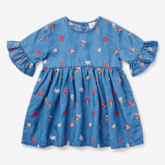 Floral Embroidered Dress  LIGHT WASH  hi-res