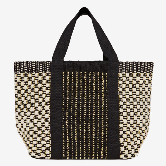 Textured Weave Tote  BLACK/ CREAM/ GOLD  hi-res