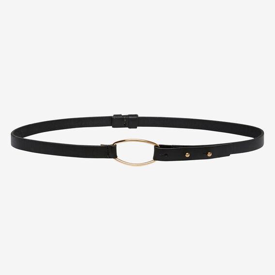 Leather Skinny Belt  BLACK  hi-res