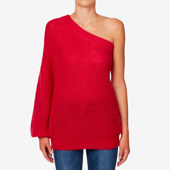 One Shoulder Knit  BOLD RED  hi-res