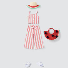 Stripe Button-Through Top  APPLE RED/WHITE  hi-res
