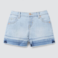 Exposed Hem Denim Short  SOFT BLUE WASH  hi-res