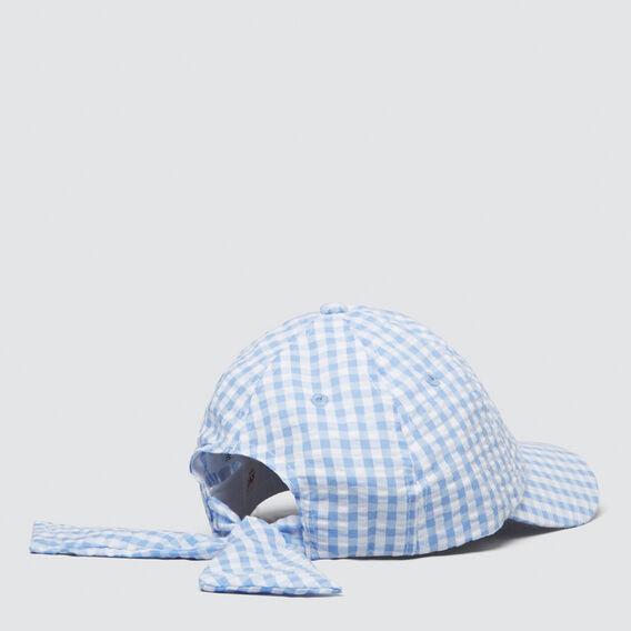 Gingham Tie Back Cap  CORNFLOWER  hi-res