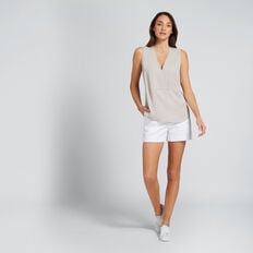 V-Neck Top  GREY TAUPE  hi-res