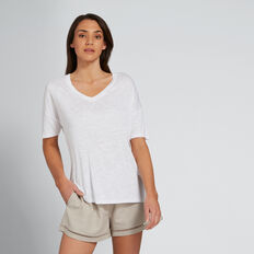 Slouchy V-Neck Tee  WHISPER WHITE  hi-res