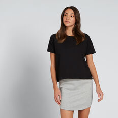 Boxy Split Hem Tee  BLACK  hi-res
