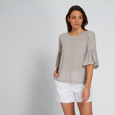 Frill Sleeve Tee  GREY TAUPE STRIPE  hi-res