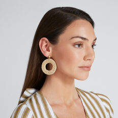 Rattan Weave Earrings  NATURAL  hi-res