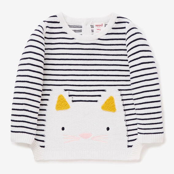 Stripe Kitty Sweater  NAVY  hi-res