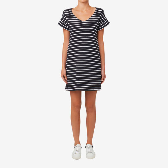 Frill Sleeve Shift Dress  DEEP NAVY STRIPE  hi-res