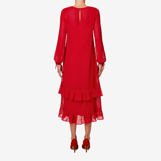 Dobby Midi Dress  BOLD RED  hi-res