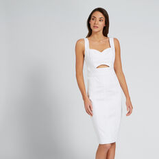 Peek-A-Boo Denim Dress  WHITE  hi-res