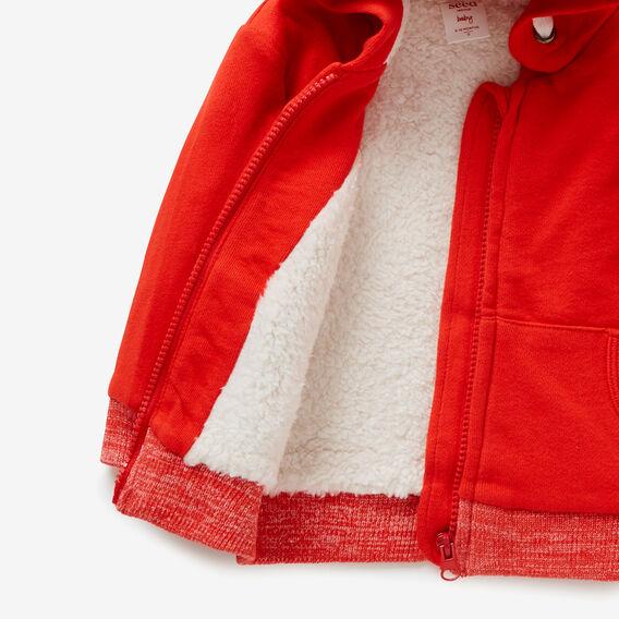 Sherpa-Lined Zip Hoodie  BRICK RED  hi-res