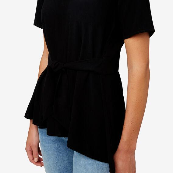 Tie Front Asymmetrical Top  BLACK  hi-res