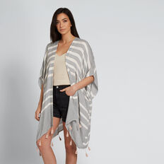 Diamond Stripe Poncho  NUDE MULTI  hi-res
